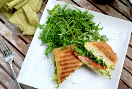 Avocado Panini with an Arugula Salad