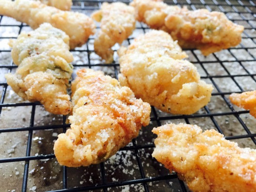 cod bites sprinkled with pecorino romano