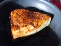 seared swordfish steak with curry rub