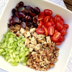 tomatoes, grapes, celery, pecans and grilled balsamic chicken