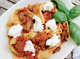 slow-braised beef pappardelle with goat cheese