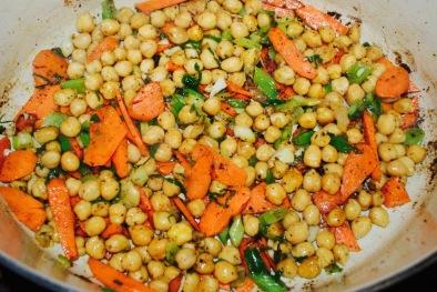 garbanzo beans and veggies seasoned with mediterranean spice rub