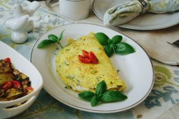 mascarpone and roasted grape tomato omelette