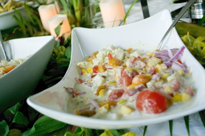 roasted poblano and garlic coconut ceviche made with white fish