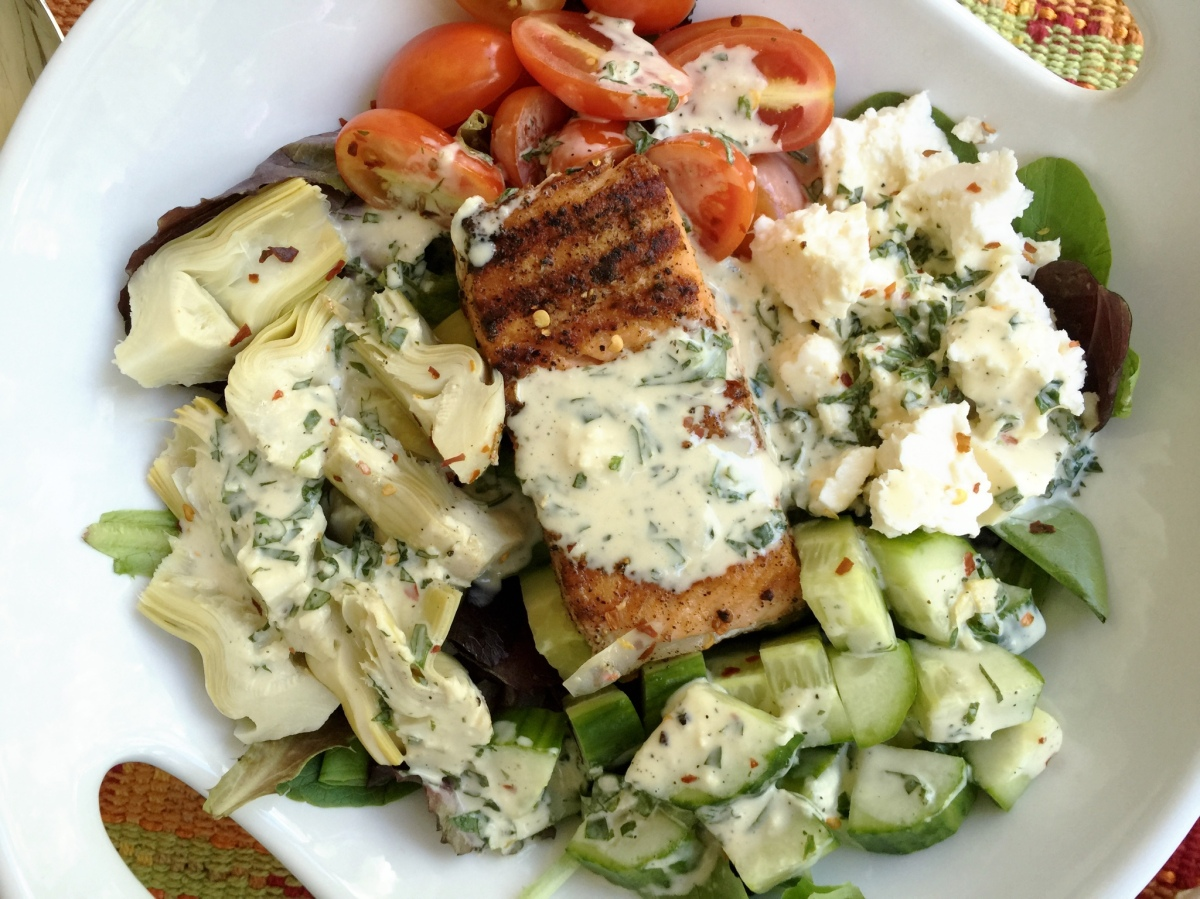 Greek Salmon Salad with Creamy Dijon Dressing