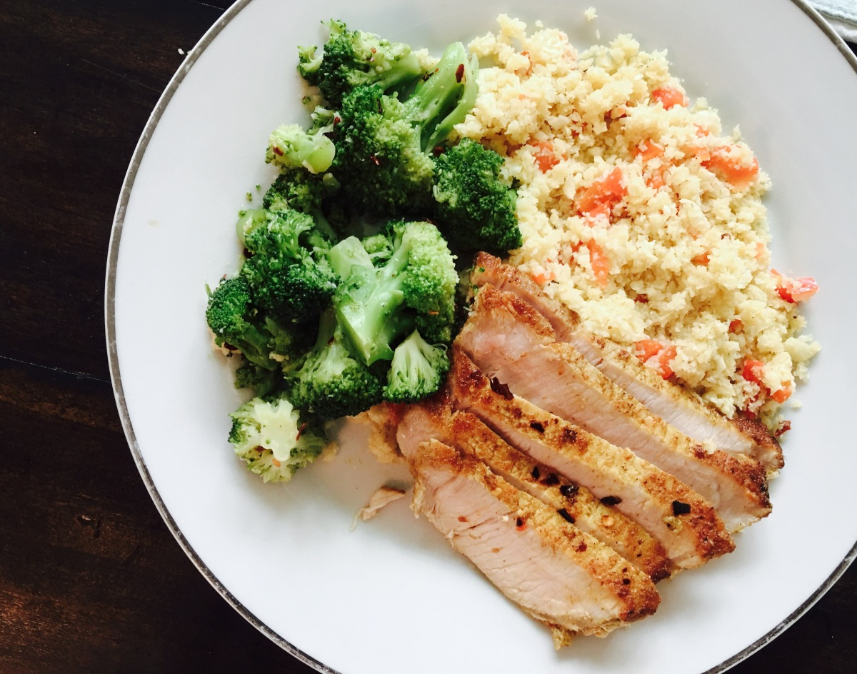 Stephanie's Rogan Josh Pork Chops with Cauliflower Rice