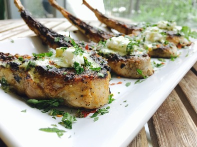 Grilled Balti Curry Lamb Chops with a Mint, Basil & Goat Cheese Drizzle